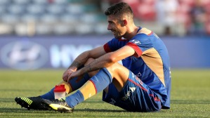NEWCASTLE, AUSTRALIA - JANUARY 24:  Jason Hoffman of the Jets looks dejected after losing during the round 16 A-League match between the Newcastle Jets and the Perth Glory at Hunter Stadium on January 24, 2016 in Newcastle, Australia.  (Photo by Ashley Feder/Getty Images)